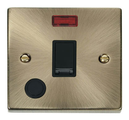 Antique Brass 1 Gang 20A DP Switch With Flex With Neon - Black