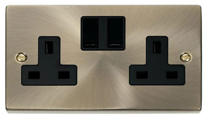 Antique Brass 2 Gang 13A Twin Double Switched Plug Socket - Black Trim