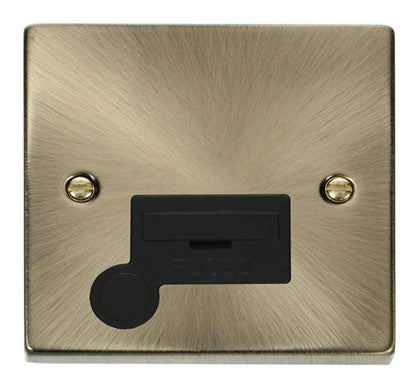 Antique Brass 13A Fused Connection Unit With Flex - Black Trim
