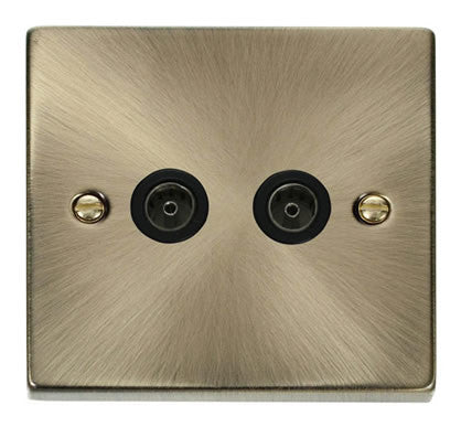 Antique Brass 2 Gang Twin Coaxial TV Socket - Black Trim