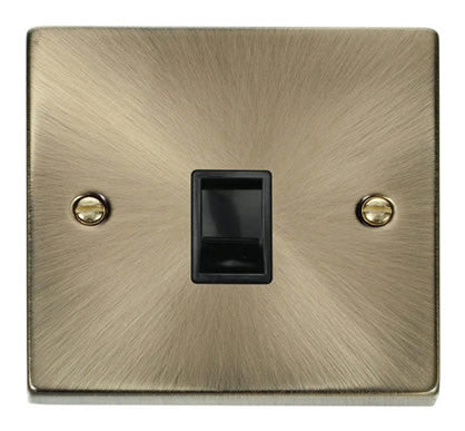 Antique Brass Rj11 Socket - Black Trim