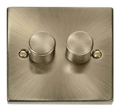 Antique Brass 2 Gang 2 Way 400w Dimmer Light Switch