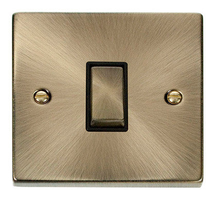 Antique Brass 10A 1 Gang 2 Way Ingot Light Switch - Black Trim