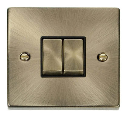 Antique Brass 10A 2 Gang 2 Way Ingot Light Switch - Black Trim