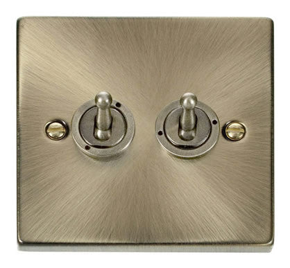 Antique Brass 2 Gang 2 Way 10AX Toggle Light Switch