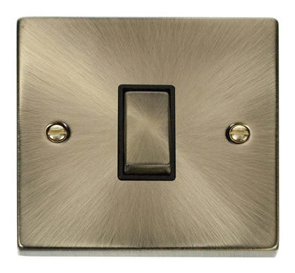 Antique Brass 10A 1 Gang Intermediate Ingot Light Switch - Black Trim