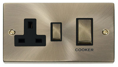 Antique Brass Cooker Control Ingot 45A With 13A Switched Plug Socket - Black Trim