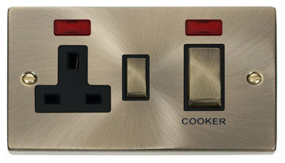 Antique Brass Cooker Control Ingot 45A With 13A Switched Plug Socket & 2 Neons - Black Trim