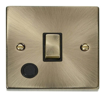 Antique Brass 1 Gang 20A Ingot DP Switch With Flex - Black