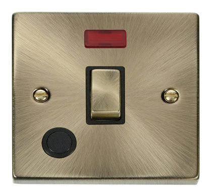 Antique Brass 1 Gang 20A Ingot DP Switch With Flex With Neon - Black