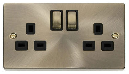 Antique Brass 2 Gang 13A DP Ingot Twin Double Switched Plug Socket - Black Trim