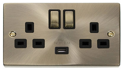 Antique Brass 2 Gang 13A DP Ingot 1 USB Twin Double Switched Plug Socket - Black Trim