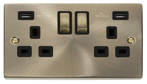 Antique Brass 2 Gang 13A DP Ingot 2 USB Twin Double Switched Plug Socket - Black Trim
