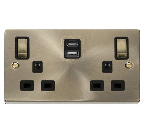 Antique Brass 2 Gang 13A DP Ingot Type A & C USB Twin Double Switched Plug Socket - Black Trim