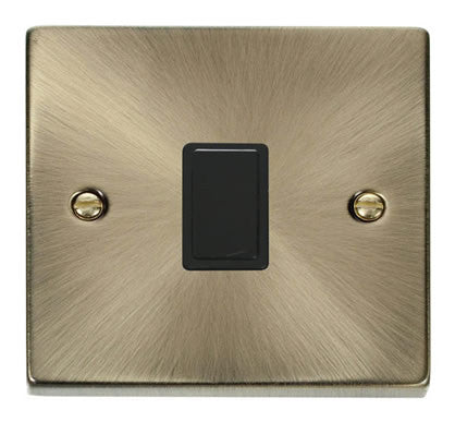 Antique Brass 1 Gang 20A DP Switch - Black Trim