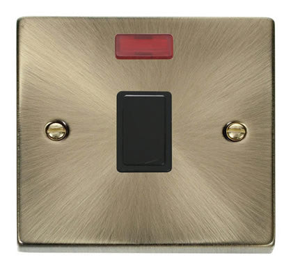 Antique Brass 1 Gang 20A DP Switch With Neon - Black