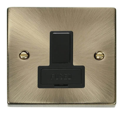 Antique Brass 13A Fused Connection Unit Switched - Black Trim