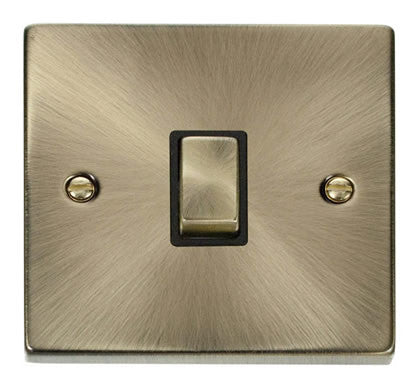 Antique Brass 1 Gang 20A Ingot DP Switch - Black
