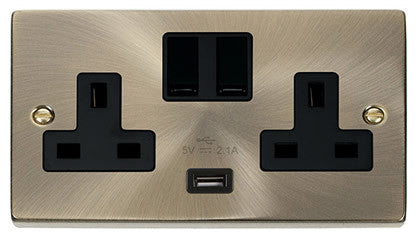 Antique Brass 2 Gang 13A 1 USB Twin Double Switched Plug Socket - Black Trim