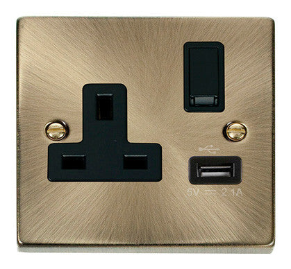Antique Brass 1 Gang 13A DP 1 USB Switched Plug Socket - Black Trim