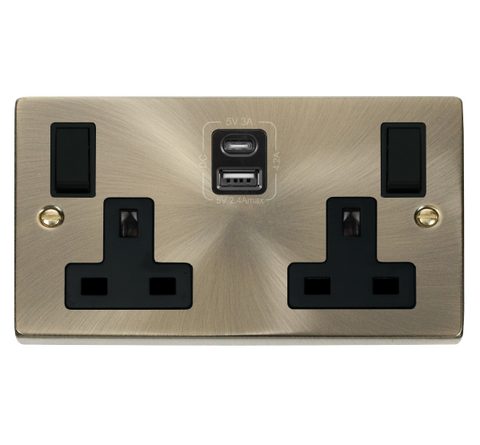 Antique Brass 2 Gang 13A Type A & C USB Twin Double Switched Plug Socket - Black Trim