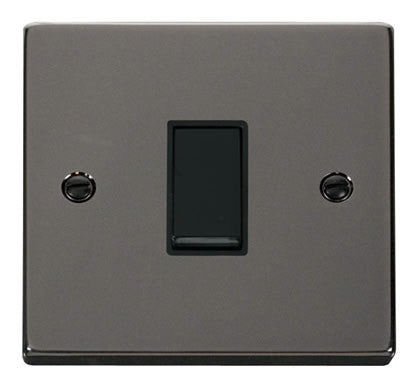 Black Nickel 10A 1 Gang 2 Way Light Switch - Black Trim