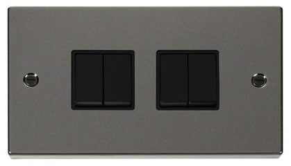 Black Nickel 10A 4 Gang 2 Way Light Switch - Black Trim