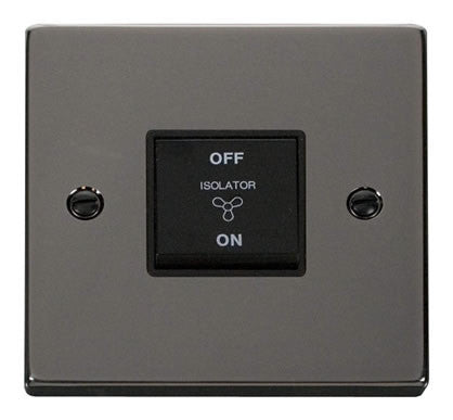 Black Nickel 10A 3 Pole Fan Isolation Switch - Black Trim