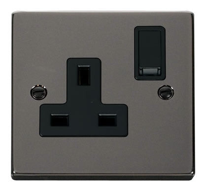 Black Nickel 1 Gang 13A DP Switched Plug Socket - Black Trim