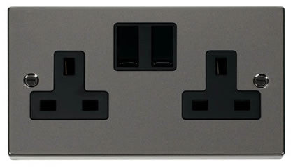 Black Nickel 2 Gang 13A Twin Double Switched Plug Socket - Black Trim