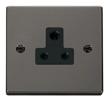 Black Nickel 1 Gang 5A Round Pin Socket - Black Trim