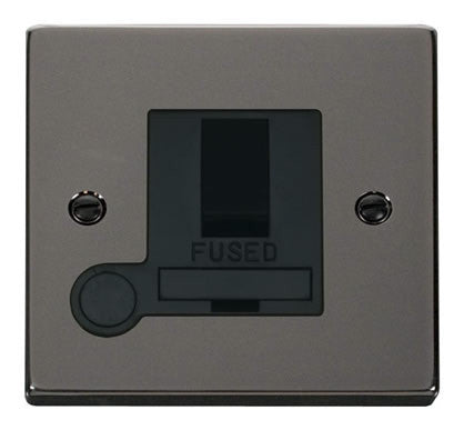 Black Nickel 13A Fused Connection Unit Switched With Flex - Black Trim