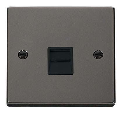Black Nickel Secondary Telephone Single Socket - Black Trim