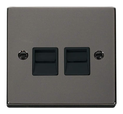 Black Nickel Secondary Telephone Twin Socket - Black Trim