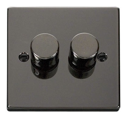 Black Nickel 2 Gang 2 Way 400w Dimmer Light Switch - Black Trim