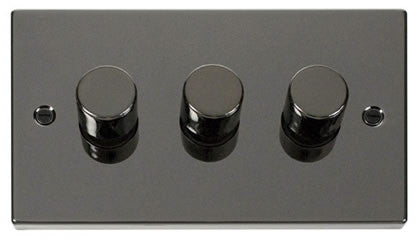 Black Nickel 3 Gang 2 Way 400w Dimmer Switch - Black