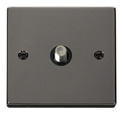 Black Nickel Satellite Socket 1 Gang - Black