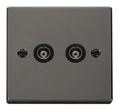 Black Nickel Twin Isolated Coaxial Socket - Black