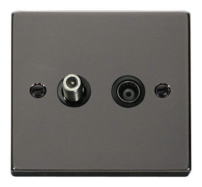 Black Nickel Satellite & Coaxial Socket 1 Gang - Black Trim