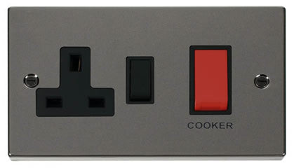 Black Nickel Cooker Control 45A With 13A Switched Socket - Black