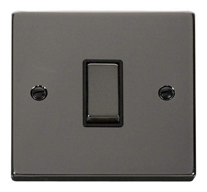 Black Nickel 10A 1 Gang 2 Way Ingot Light Switch - Black Trim