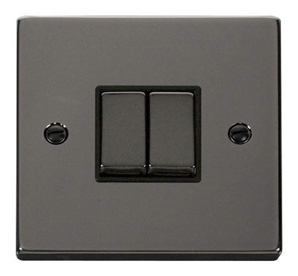 Black Nickel 10A 2 Gang 2 Way Ingot Light Switch - Black Trim