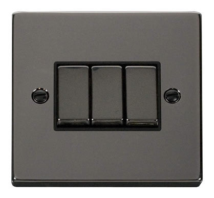 Black Nickel 10A 3 Gang 2 Way Ingot Light Switch - Black Trim