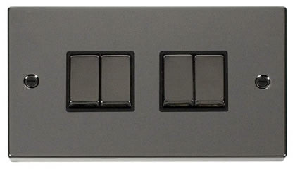 Black Nickel 10A 4 Gang 2 Way Ingot Light Switch - Black Trim