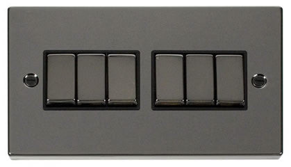 Black Nickel 10A 6 Gang 2 Way Ingot Light Switch - Black Trim