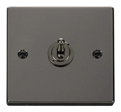 Black Nickel 1 Gang 2 Way 10AX Toggle Switch - Black Trim