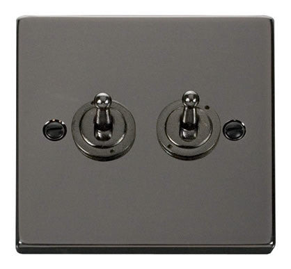 Black Nickel 2 Gang 2 Way 10AX Toggle Light Switch - Black Trim