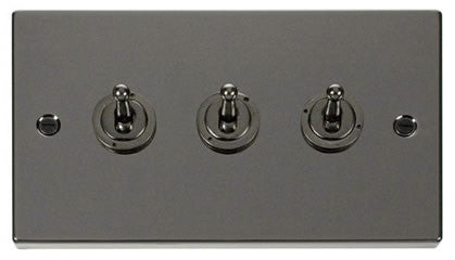 Black Nickel 3 Gang 2 Way 10AX Toggle Switch - Black