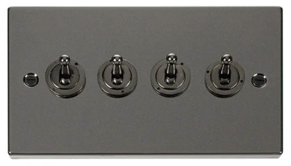 Black Nickel 4 Gang 2 Way 10AX Toggle Switch - Black