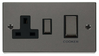 Black Nickel Cooker Control Ingot 45A With 13A Switched Plug Socket - Black Trim